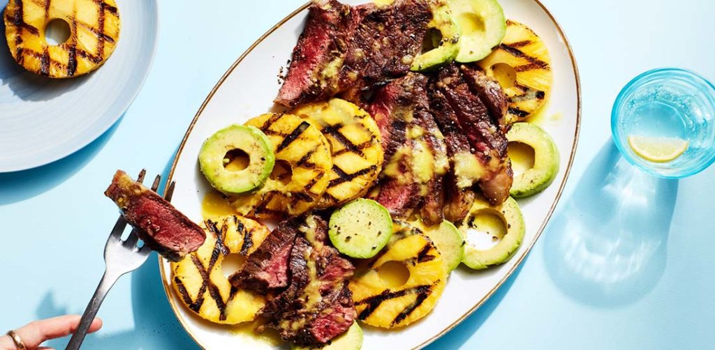Dragon Steaks with Grilled Pineapple Best Healthy Breakfast Image