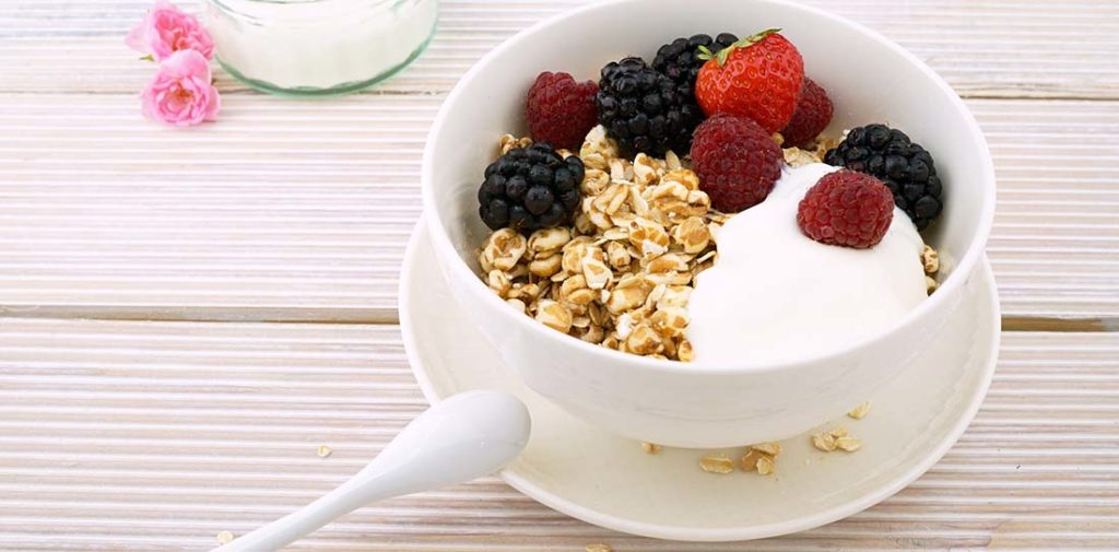 Raspberry Yogurt Cereal Bowl