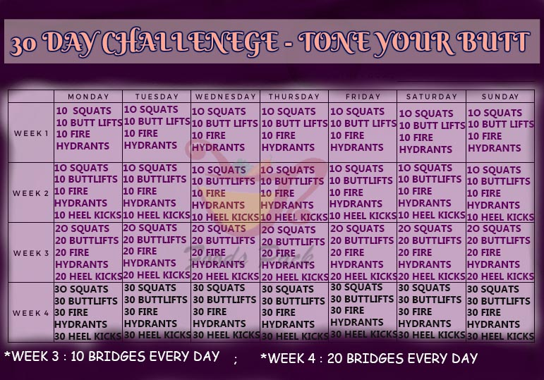 30 Day Exercise Plan with Best Butt Exerises